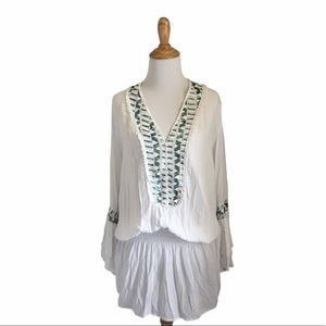 BoHo Surf Gypsy cover up with sequins and pom poms